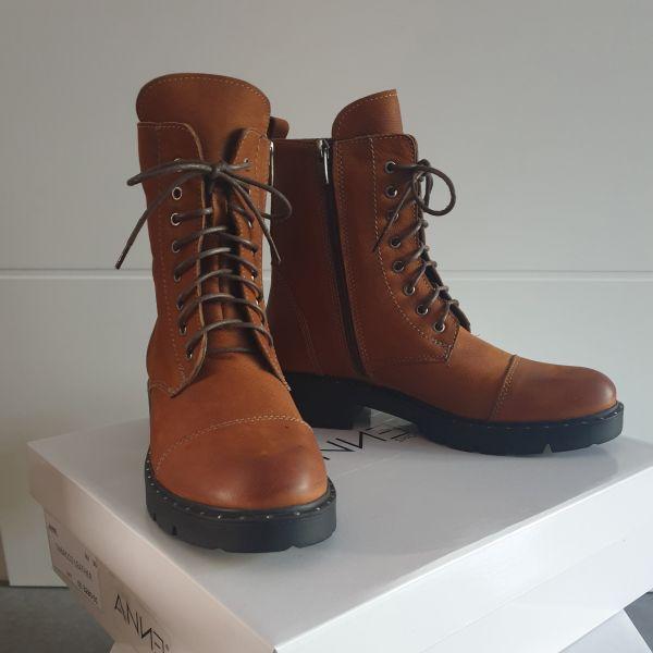 ANNƎ Shoes Damen Leder Booties Tabacco