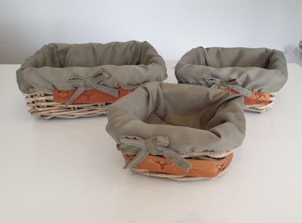 Colmore 3er-Set Korb handgeflochten braun-grün