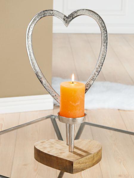 """Kerzenleuchter """"Herz"""" auf Mangoholzbase in Herzform"""