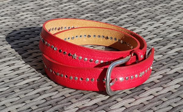 Damen - Gürtel Strass-Steine Nieten echtes Leder rot 90 cm