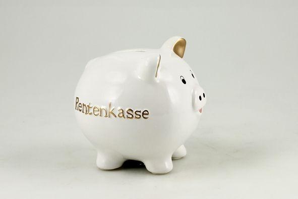 """Sparschwein """"Rentenkasse"""" Keramik 14x13x13cm, weiß/gold mit Plastikschloss"""