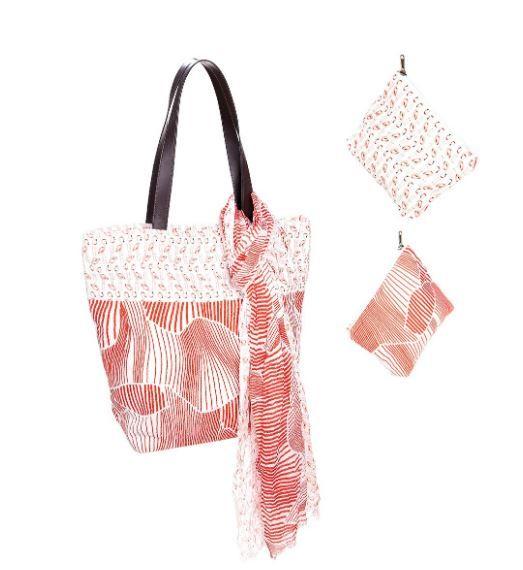 """3er-Textil-Set """"GEO"""" Tasche, Schal & Kosmetiktasche"""