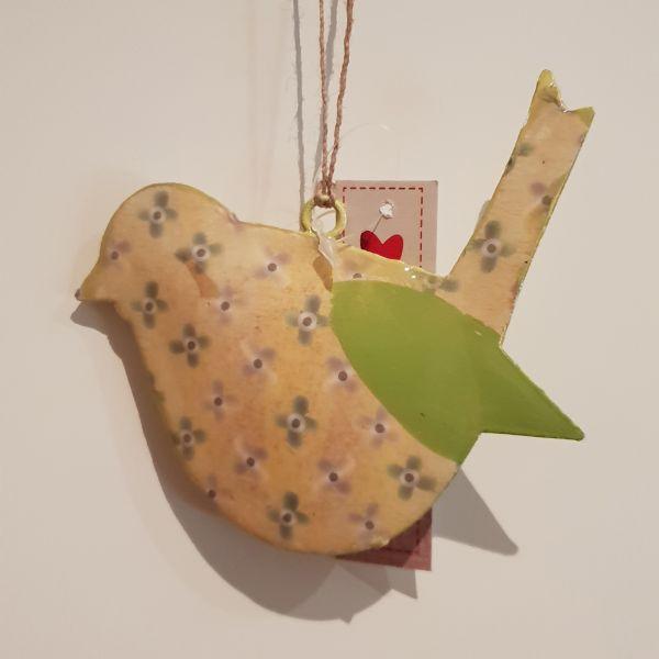 """Metallhänger """"Vogel"""" gelb, 15 x 11 cm"""