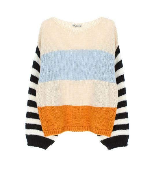 Please Oversize-Pullover mit Colour-Block-Streifen