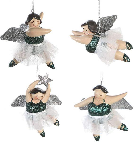 "Casablanca Hänger Engel ""Betty Ballerina"" 4er-Set, dunkelgrün / champagner"