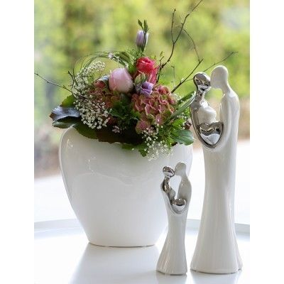 "Casablanca Skulptur ""Loving"" weiß Keramik, 20, 5 cm Höhe"