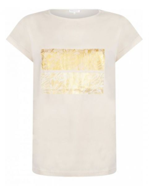 Tramontana T-Shirt mit Art-Deco-Druck - Champagner