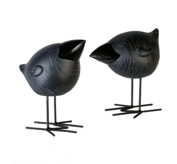 "Casablanca Figur ""Rabe Rudi"" 2er-Set Keramik-Eisen grau matt Outdoor geeignet"