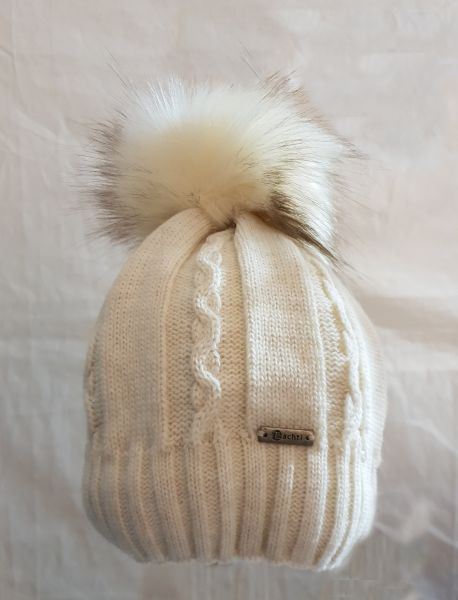 Achti Strickmütze white abnehmbarem Fell Pompon one size