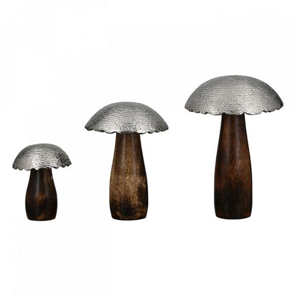 "Pilz ""Smooth"" - Mangoholz Aluminium Hut silberfarben"