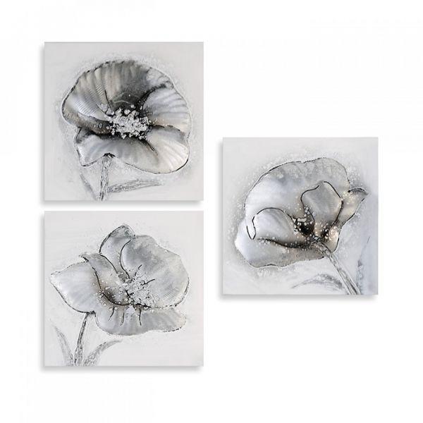 Ölbilder 'Flowers', 3-teilig, aus Leinen/Holz/Aluminium Applikationen 30 x 30 cm