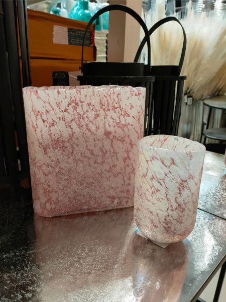 Colmore Vase Rot-Weiß handgearbeitet mundgeblasen, Höhe 20 cm