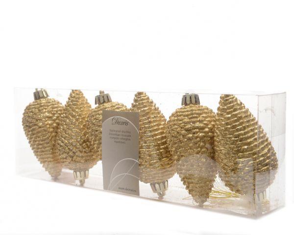 Tannenzapfen 6er gold-glitzer