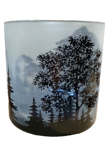 Colmore Windlichtglas L Motiv Wald Grau 15x15x15 cm
