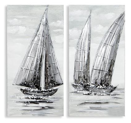 Casablanca Ölbilder 'REGATTA', 2teilig, aus Leinen/Holz/Aluminium-Applikationen 30 x 60 cm