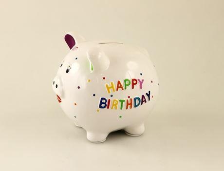 """Sparschwein """"Happy Birthday"""" Keramik 14x13x13cm, weiß/bunt mit Plastikschloss"""