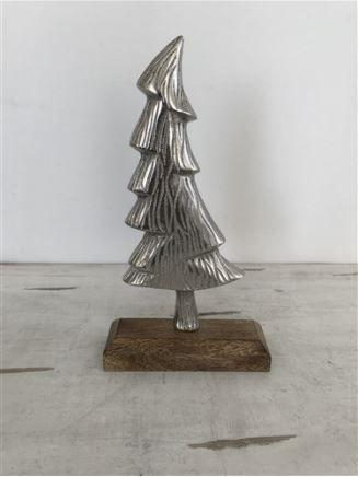 Elzet X-Mas Weihnachtsbaum Alu auf Mangoholz-Base Höhe 24 cm Breite 14cm