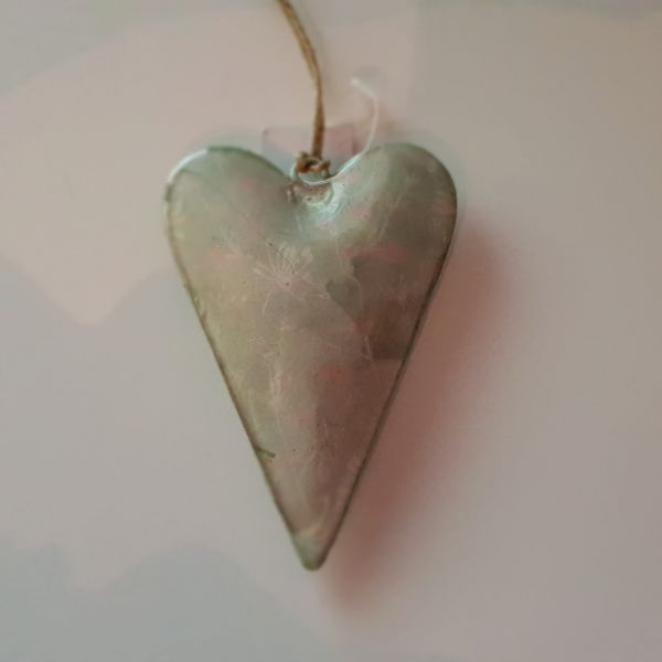 "Metallhänger ""Herz"" grün, 6 x 10 cm"