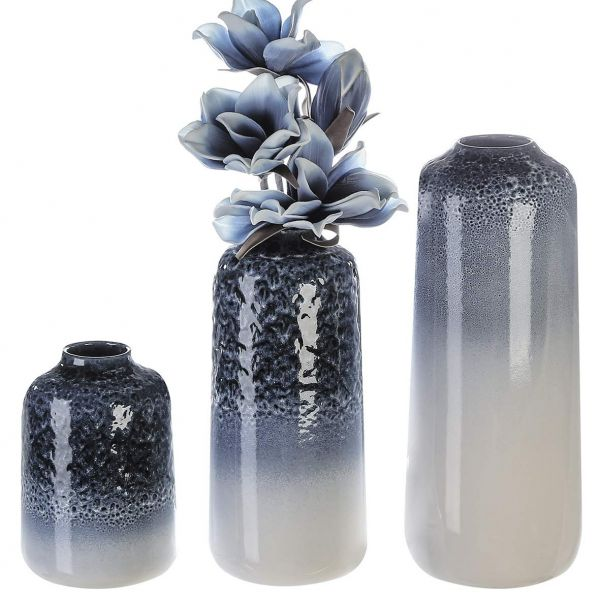 """Casablanca Vase """"Luna"""" blau/weiss glasiert Höhe 37 cm - mit reaktiver Glasur, aus Keramik"""