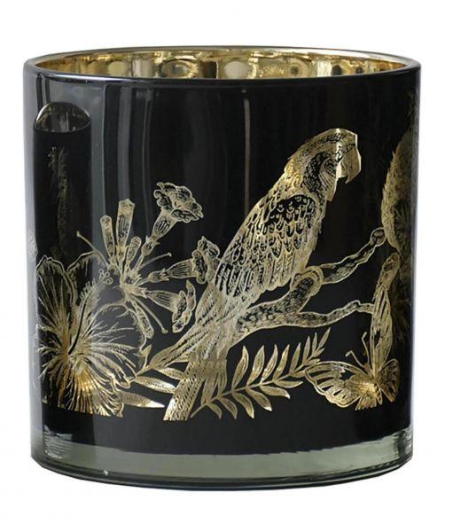 """CorMulder Teelicht Glas """"Jungle"""" schwarz-gold Ø 15 cm Höhe 15 cm"""