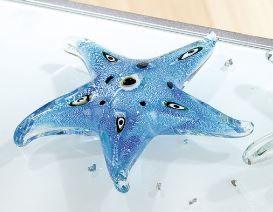 """Figur GlasArt """"Seestern"""" Glas blau-grün mundgeblasen und durchgefärbt"""