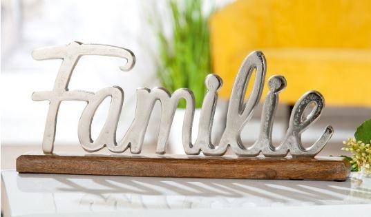 """Schriftzug """"Familie"""" Aluminium auf Mangoholz 43,5cm lang"""