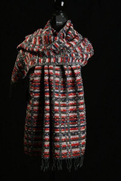 Alexandra Schmitz - edle Tücher - Stola Wollmischung grau-rot