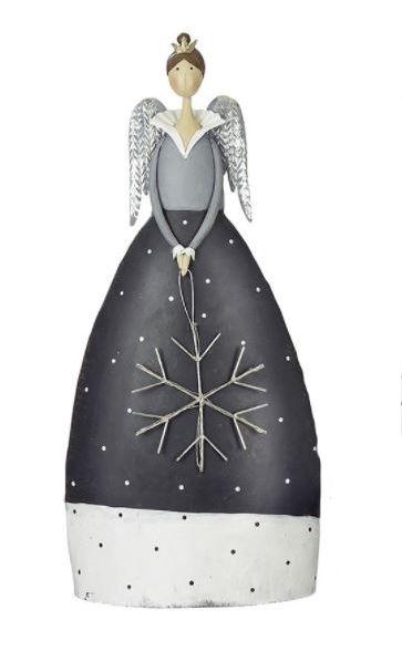 Gilde Handwerk Weihnachts- LED-Engel mit Schneeflocke grau/weiß/gold