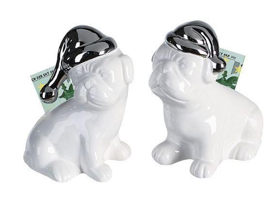 """Casablanca Spardose Hund """"Christmas Mops"""" weiß/silber Keramik mit Gummistopfen"""