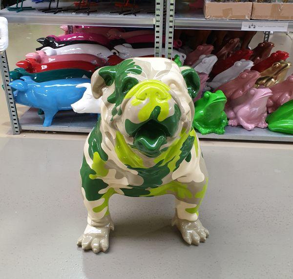 """Outdoor Deko Hund Design Bulldog """"Camouflage XXL"""""""