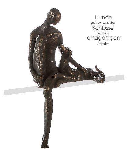 """Casablanca Skulptur Kantensitzer """"Bester Freund"""" Poly bronzefarben Mann mit Hund mit Spruchanhänger"""