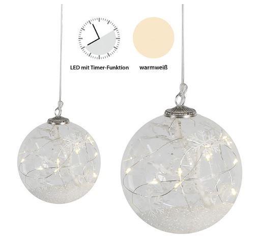"""LED Hängerleuchterkugel """"Snowflake"""" Glas, Schneeflockenaufdruck"""